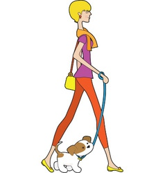 Lady walking puppy vector