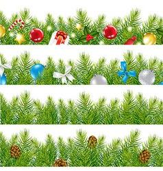 Border with christmas tree set vector