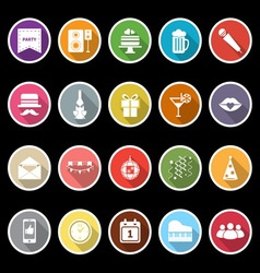 Celebration icons with long shadow vector