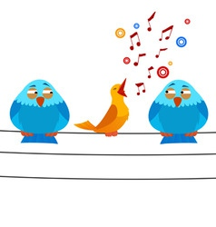 Cartoon bird sitting on wire with sing one vector