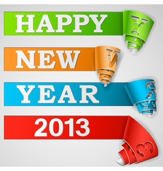 Happy new year curled strips eps10 vector