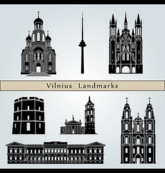 Vilnius landmarks and monuments vector