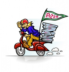Boy delivering pizza on scooter vector