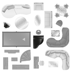 Graphic set of isolated interior furniture vector