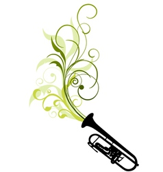 Trombone with floral vector