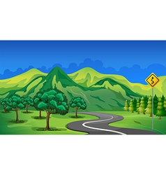 A curve road going to the mountain vector