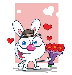Romantic white bunny holding a bouquet of flowers vector