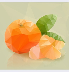 Fresh orange fruit in modern triangulated style vector