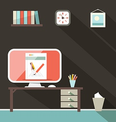 Flat design retro office room vector
