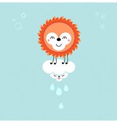 Sun and cloud in the sky cute kawaii animalistic vector