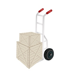 A hand truck loading two shipping boxes vector
