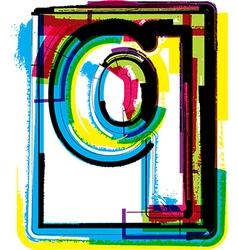 Colorful grunge font letter q vector