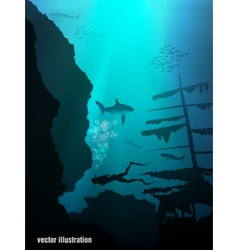Beautiful and dangerous underwater world vector