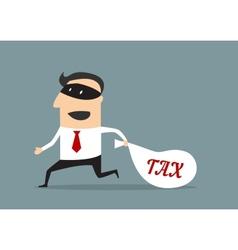 Businessman stealing tax money vector