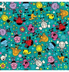 Happy kids pattern vector