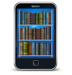 Mobile phone with library of books on the screen s vector