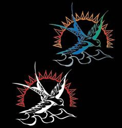 Bird tattoo swallow with sun and crow vector