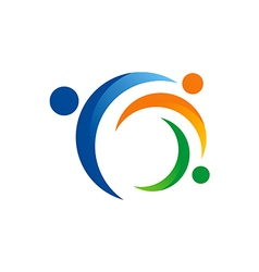 People circle connection group logo vector