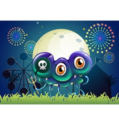 A scary monster with a skull at the carnival vector