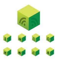 Cubical web 20 icon set vector
