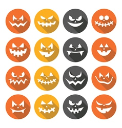 Scary halloween pumpkin faces flat design icons vector