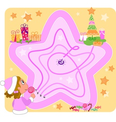 Christmas maze game for kids vector