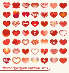 Heart labels and icons collection vector