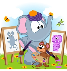 Elephant and mouse draw portraits vector