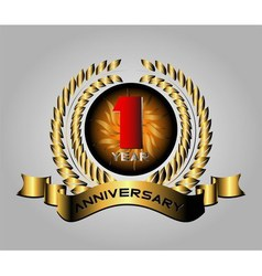 Celebrating 1 years anniversary retro label vector