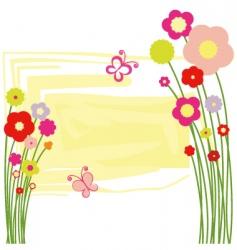 Springtime floral butterfly postcard vector