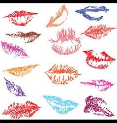 Lip print track set in tender kiss love vector