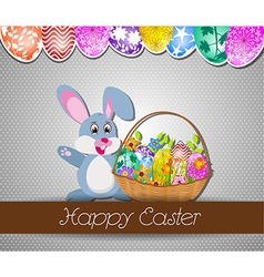 Happy easter background with eggs and rabbit vector