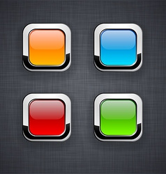 Glossy 3d square buttons vector
