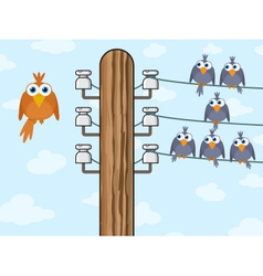 Birds on telegraph cable vector