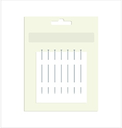 Sewing pins in product packaging vector