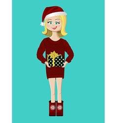 Girl with a present gift vector