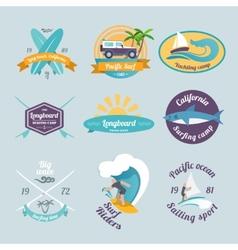 Surfing labels set vector