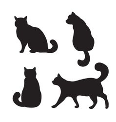 Cats set silhouette vector