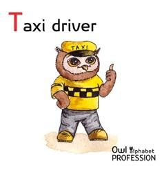 Alphabet professions owl letter t - taxi driver vector