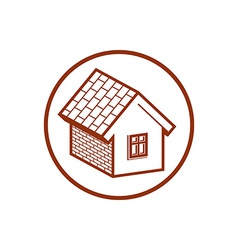 Country house constructed with bricks home symbol vector