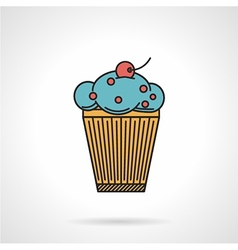 Berry muffin flat icon vector