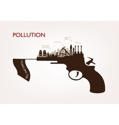 Gun with plants pollution the concept of ecology vector