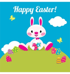 Easter bunny and easter colored eggs vector