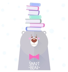 Bear and books vector