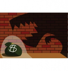 Monster eats money bag vector