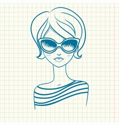 Fashionable girl in sunglasses drawn by hand vector