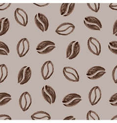 Seamless pattern with watercolor coffee beans vector