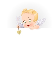 Cute cupid with a big horizontal banner isolated vector