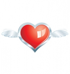 Winged steel heart vector