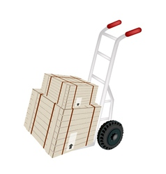 Hand truck loading shipping boxes vector